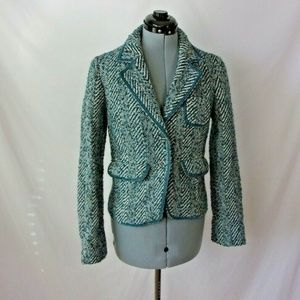 Massimo Dutti Wool Alpaca Blend Jacket Teal M